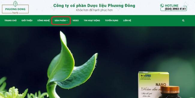 chon san pham thanh menu