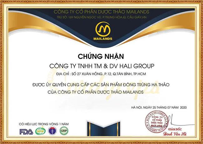 Giấy chứng nhận được quyền cung ứng các sản phẩm Đông trùng hạ thảo của công ty cổ phần dược thảo Mailands