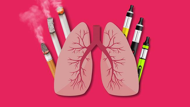 Thuốc lá thông thường và thuốc lá điện tử đều có thể gây hại cho phổi của người mắc bệnh đái tháo đường