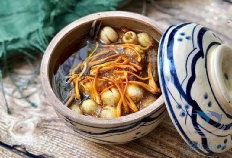 Yến chưng với hạt sen, nấm đông trùng hạ thảo là món ăn tốt cho bệnh nhân gout